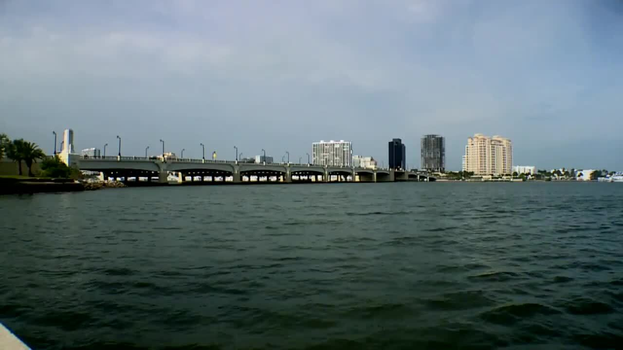 Jeff Greene's unfinished twin towers in West Palm Beach as seen from other side of Intracoastal Waterway