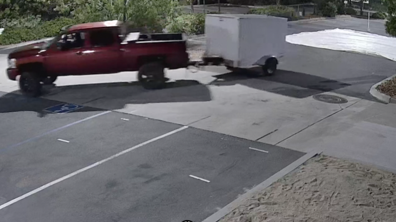 Maroon truck drives away with Boy Scout 667 and 1667's camping equipment .png