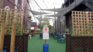 The alley between Kean's and BAD Brewing
