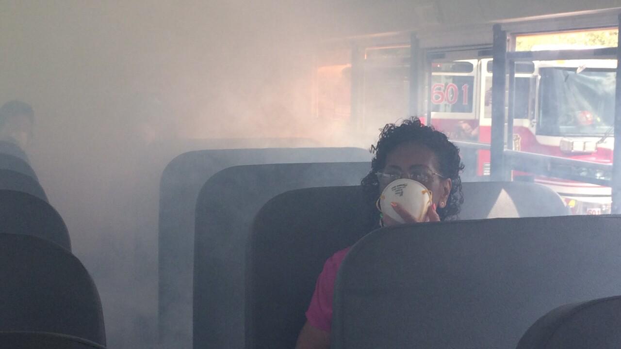 Hampton school bus drivers practice fireevaluation