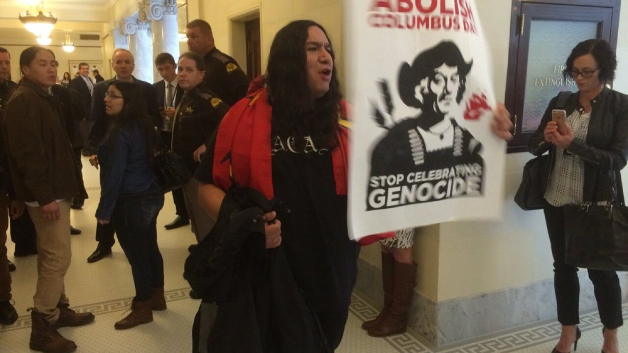 Protesters disrupt Senate over Columbus Day bill