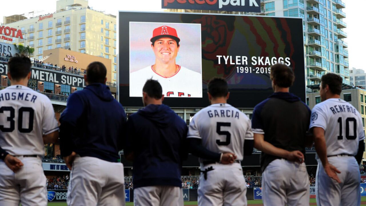 Moment of silence for Angels pitcher Tyler Skaggs held before MLB game