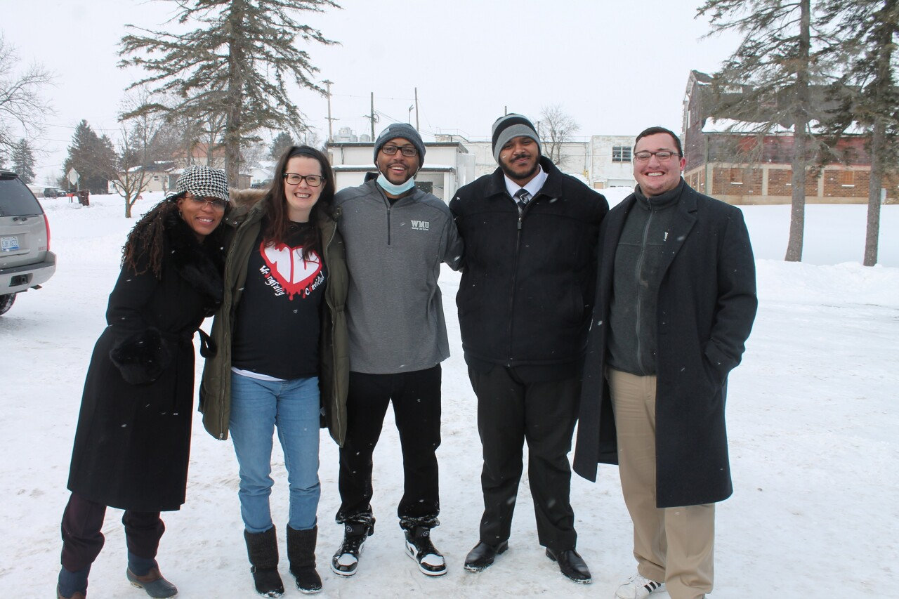 Kenneth Nixon with WMU-Cooley Innocence Project team members. Pictured (left-right) Tracey Brame, Innocence Project director; Lori Montgomery; Nixon; David Williams, staff attorney; Matthew Smith, team member.