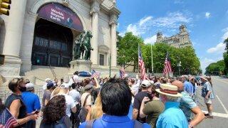 Roosevelt statue rally