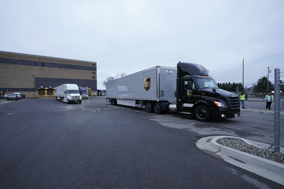 Pfizer Portage plant COVID-19 vaccine shipping UPS truck December 13-2020.jpg