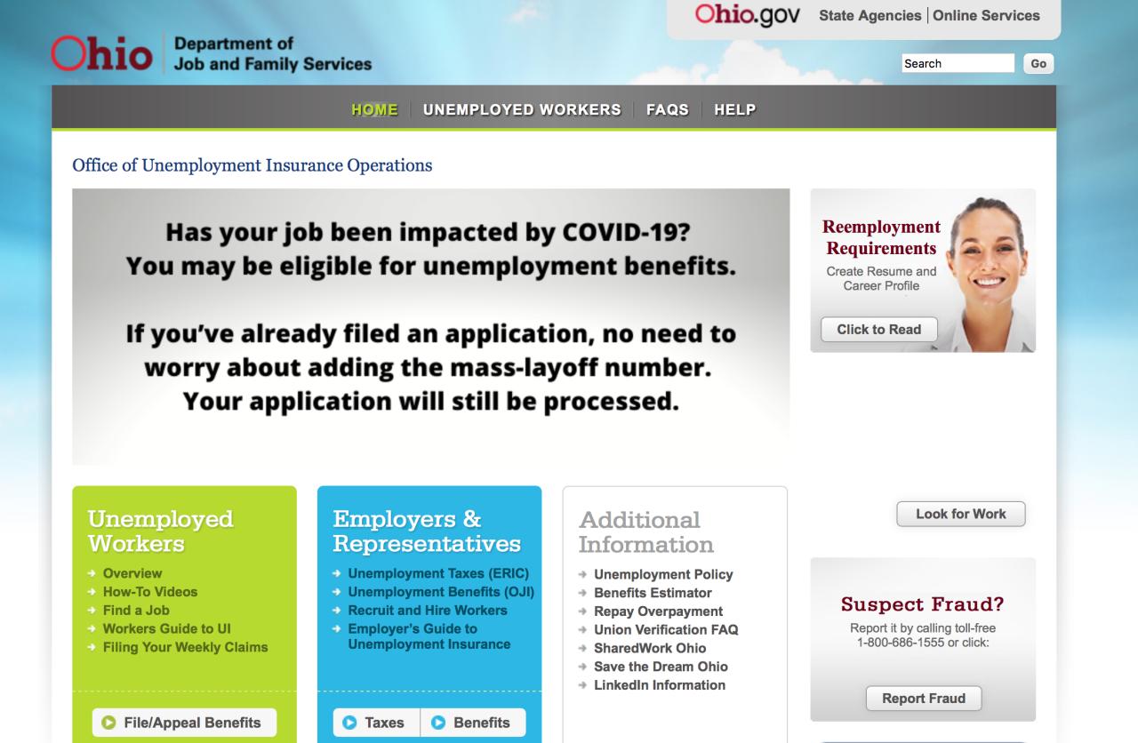 Unemployment in Ohio