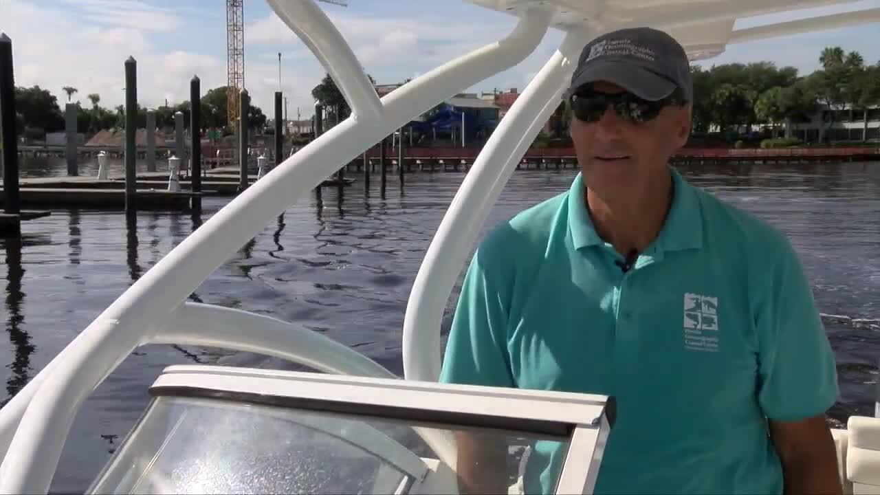 Mark Perry of Florida Oceanographic Center on boat in St. Lucie Estuary