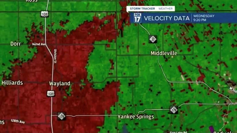 Rotation on velocity data from Wednesday night storm