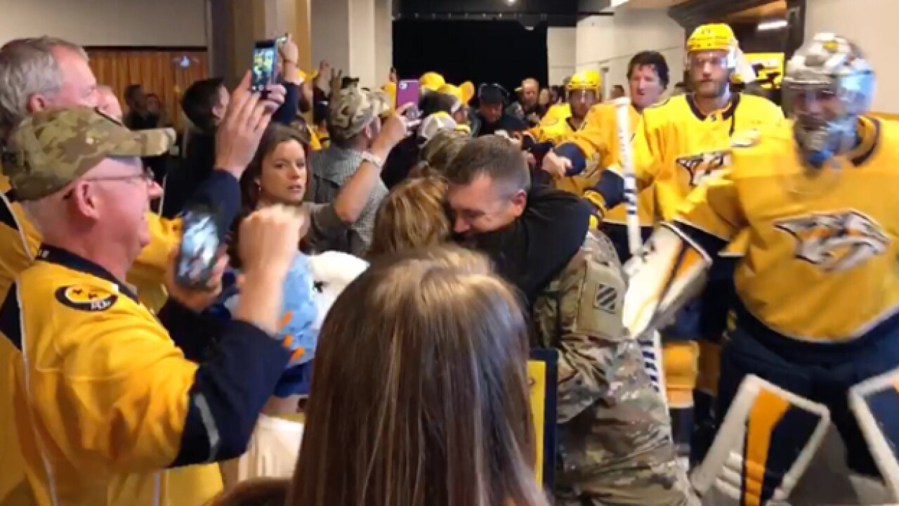 Soldier Surprises Family At Preds Game