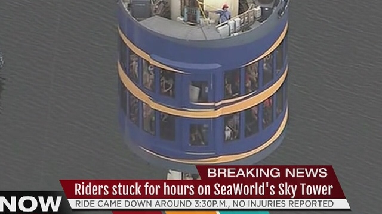 LIVE | Passengers stuck on Sea World Sky Tower