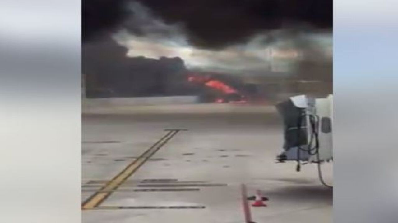 Reports of a large fire at TIA