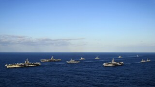 Photos: U.S. Navy kicks off three-carrier exercise in WesternPacific