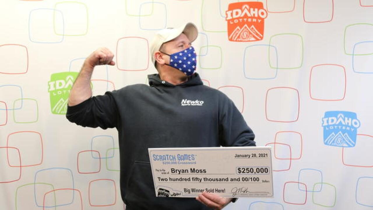 Bryan Moss has won the Idaho Lottery six times. His most recent win was his largest, at $250,000.