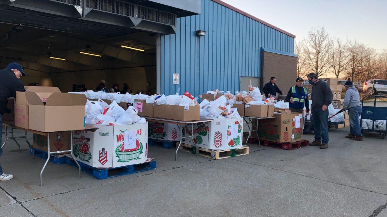 Feeding Medina County drive-thru distribution line.