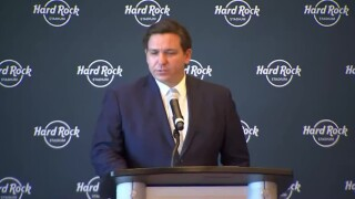 Gov. Ron DeSantis speaks at Hard Rock Stadium, Aug. 24, 2020