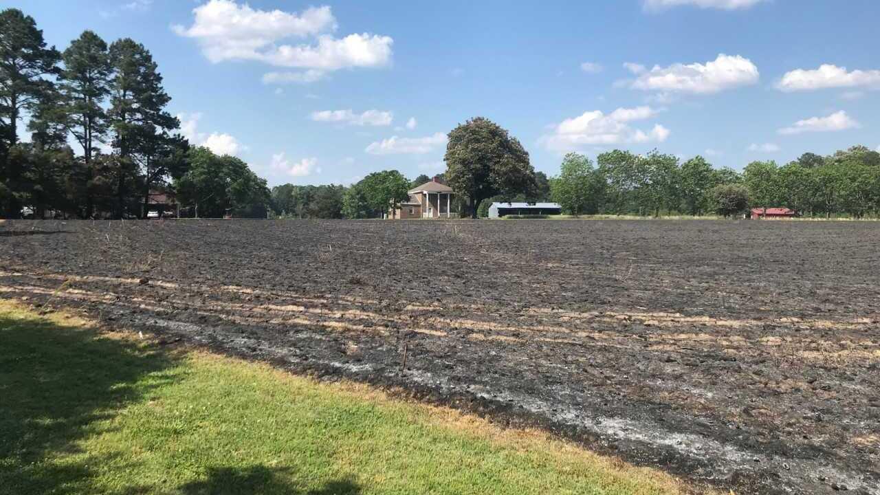Farmer's burn pile ignites Dinwiddiecornfield