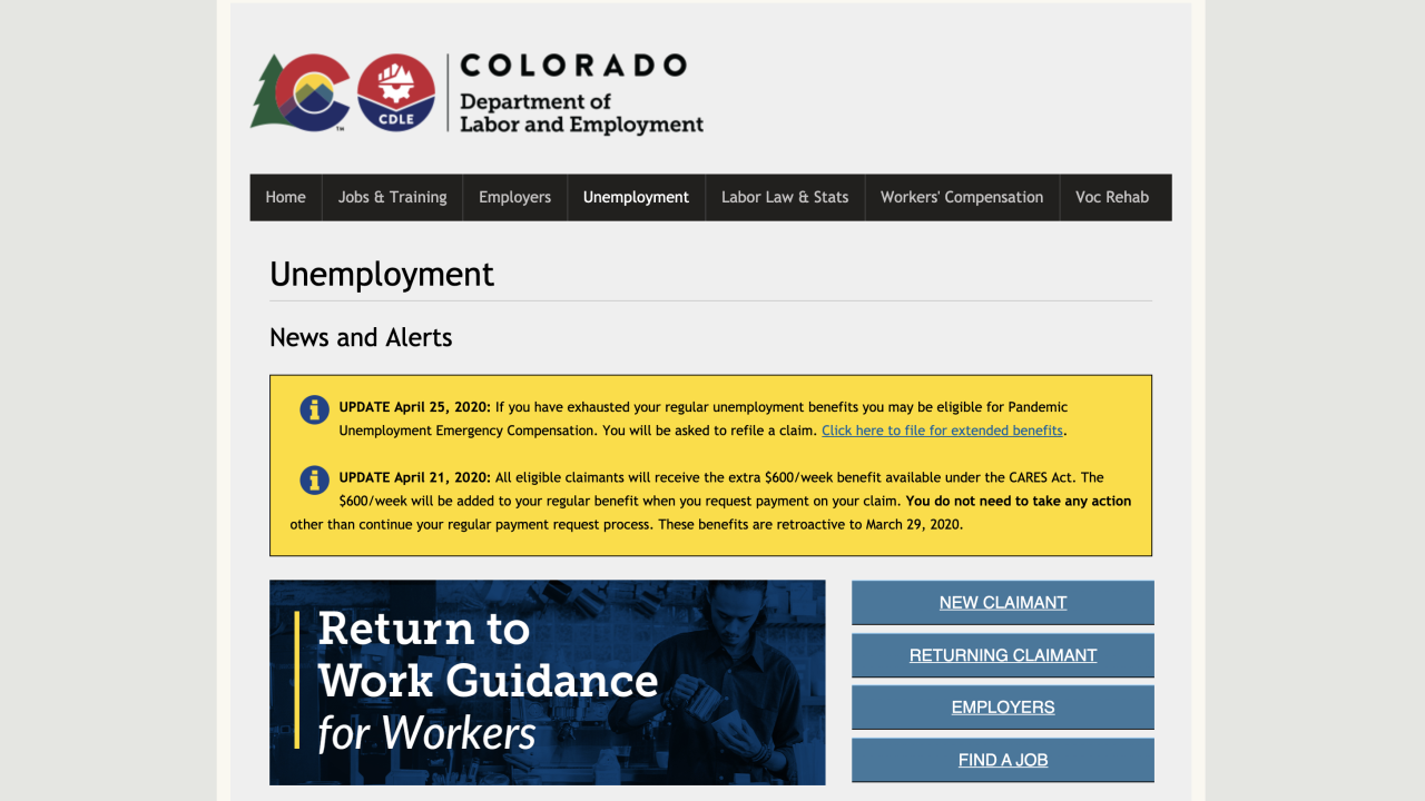 Colorado's unemployment filing system potentially exposed private data of some people