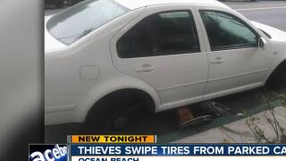 thieves swipe tires from parked car