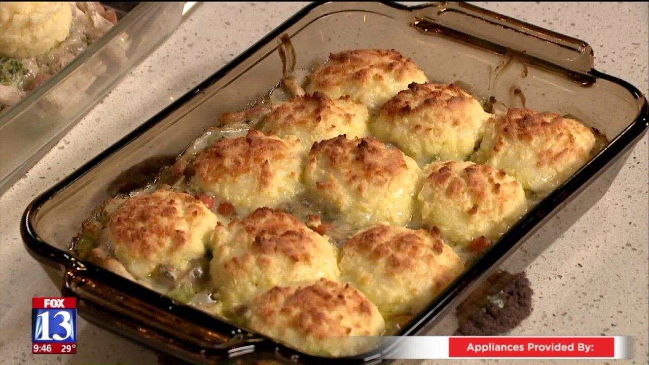 Keto Chicken Pot Pie and Loaded CauliflowerMash