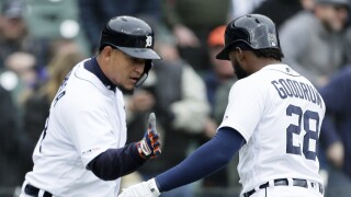 Miguel_Cabrera_Niko_Goodrum_Cleveland Indians v Detroit Tigers
