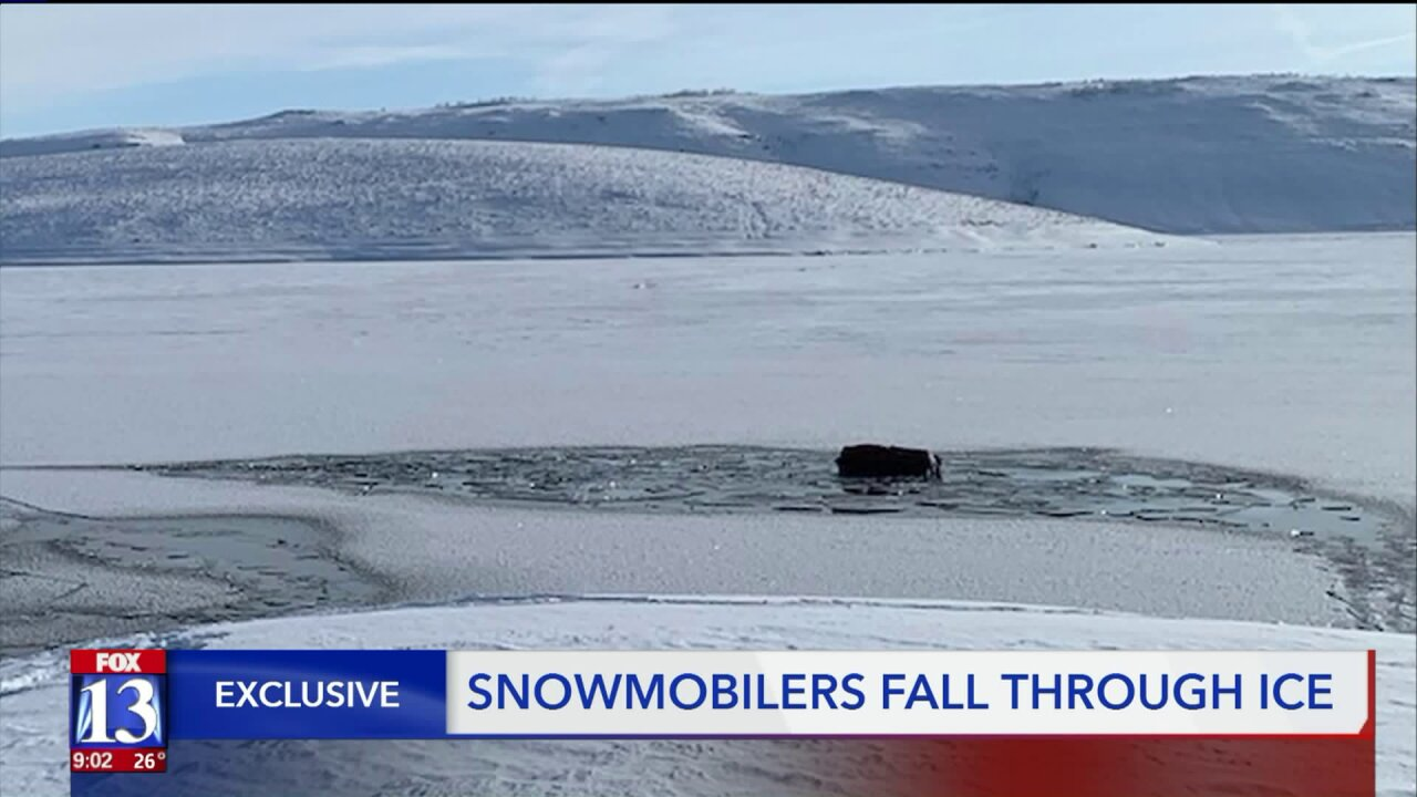 Three snowmobilers share story of falling through the ice on a Utah reservoir Saturday, plunging into the cold