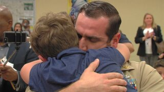 VIDEO: Navy dad home from Iraq surprises son at Florida school
