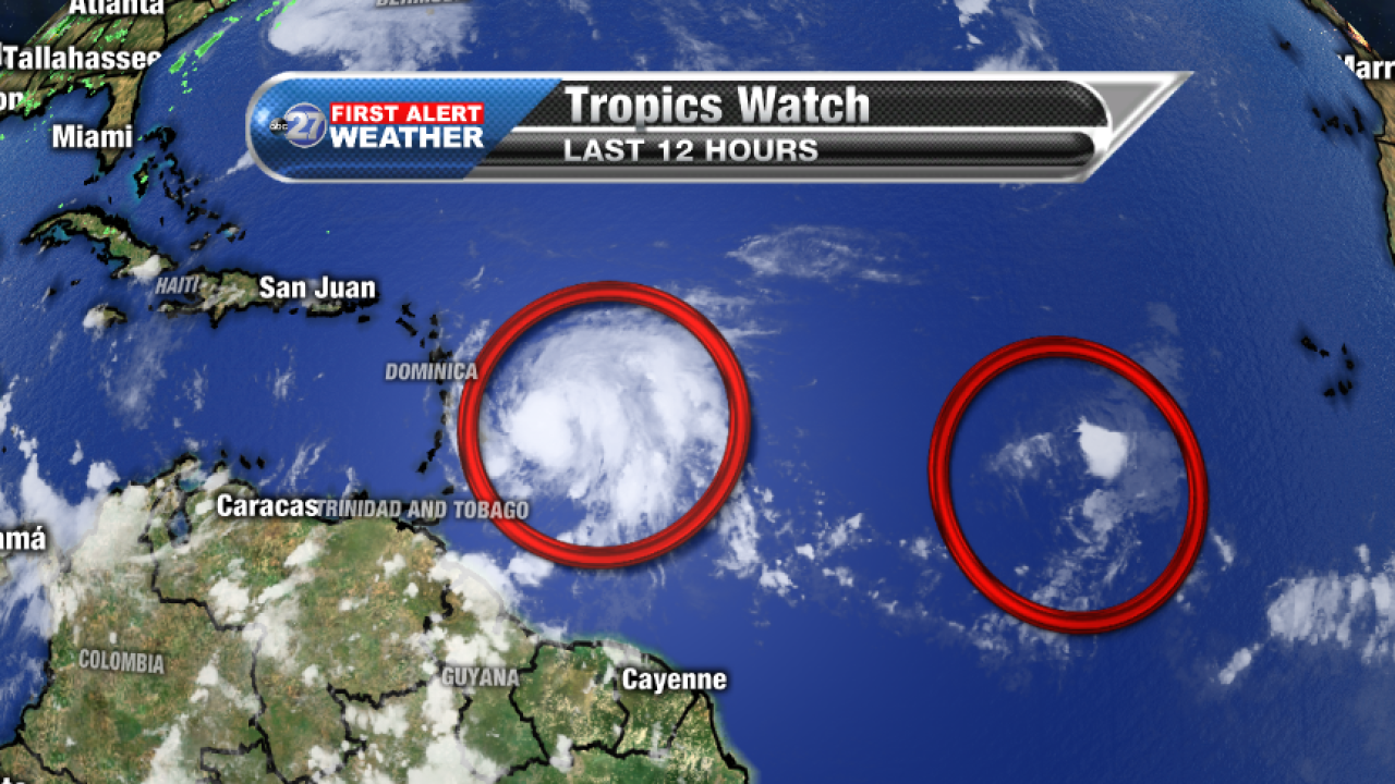 Hurricane Maria (left) and Tropical Depression Lee (right), Sunday 9/17/2017 pm