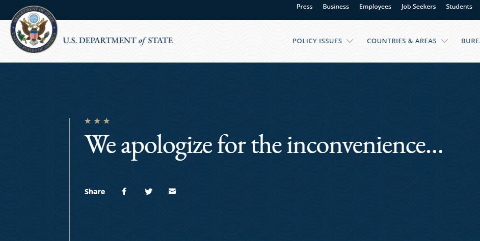 State Department Glitch