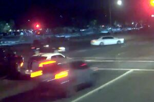 Must-see video: Alleged drunk driver narrowly hits couple pushing stroller through cross walk in Phoenix