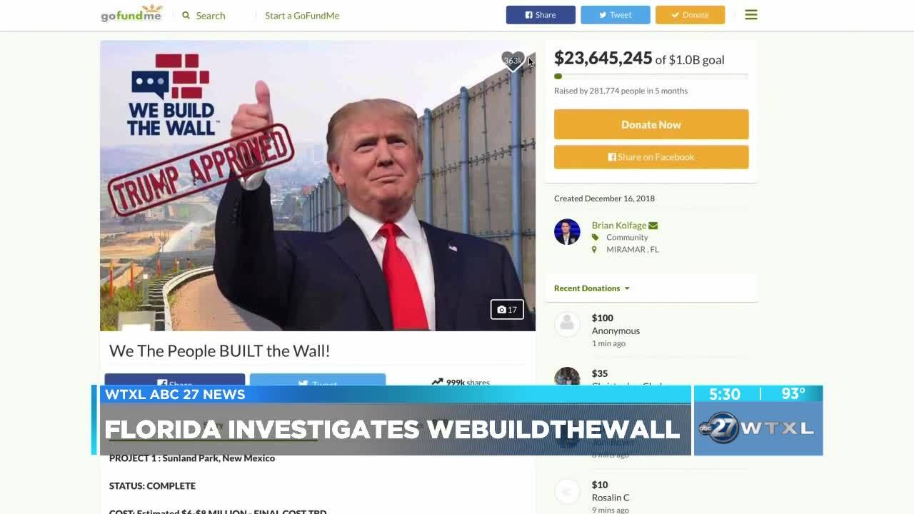 Florida opens investigation on WeBuildTheWall campaign to construct barrier at southern border