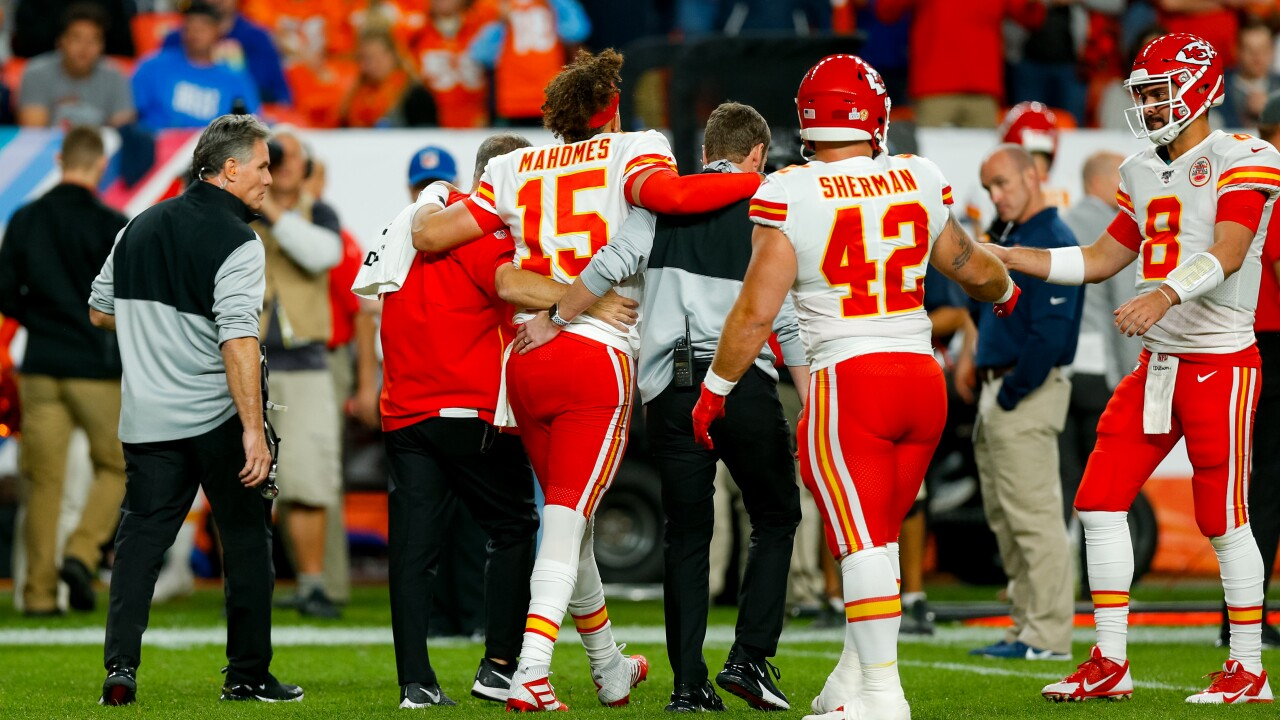 Chiefs quarterback Patrick Mahomes could be sidelined for multiple weeks with a knee injury