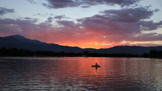 Jeffery Heizer Prospect Lake sunset with boat