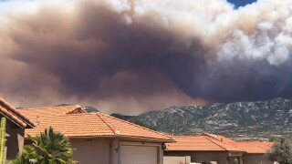 Bighorn Fire as seen from a home in Saddlebrooke