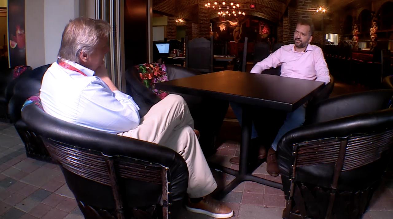 Chris Acosta, general manager of Calavaras Cantina, speaks with Matt Sczesny