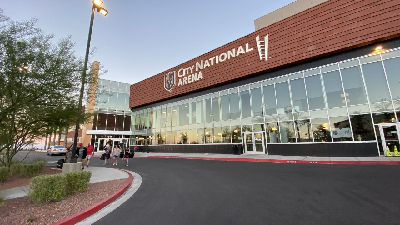 These are photos of Vegas Golden Knights fans at City National Arena in Summerlin in July 2020