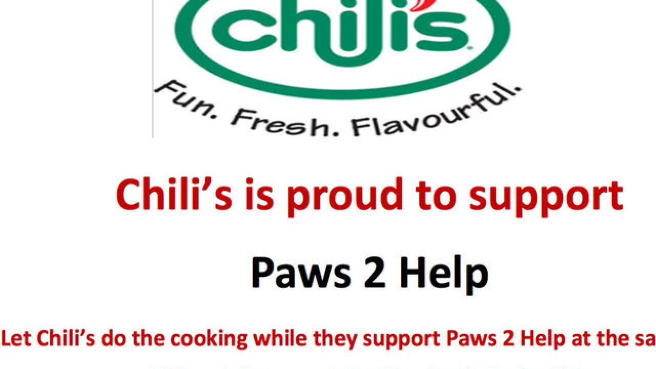 2 local Chili's locations donating 20 percent of sales Thursday to Paws 2 Help