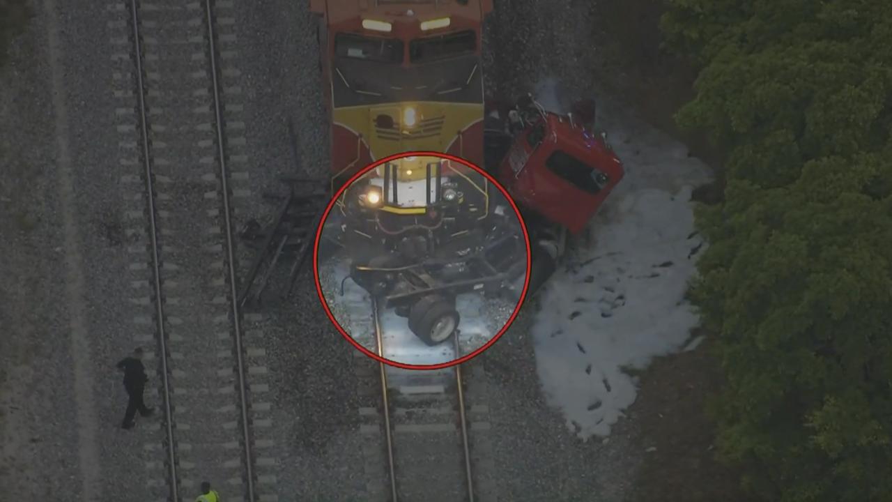 train crashes into semi-trailer in Lake Worth Beach circled