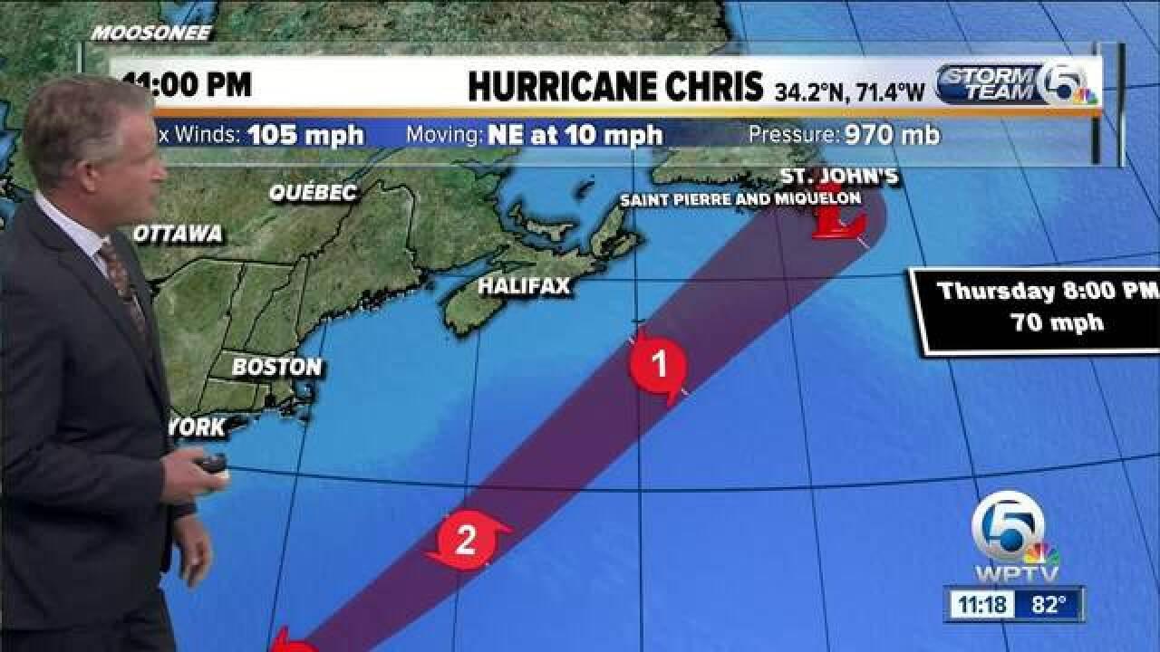 Chris strengthens into a Category 2 hurricane