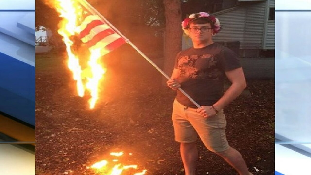 No charges for man who posted flag-burning picture to Facebook