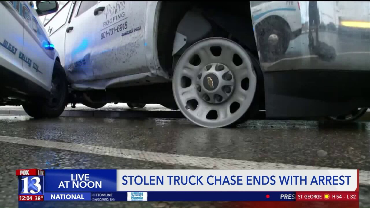 Suspected stolen truck hits at least two police cars before coming to astop