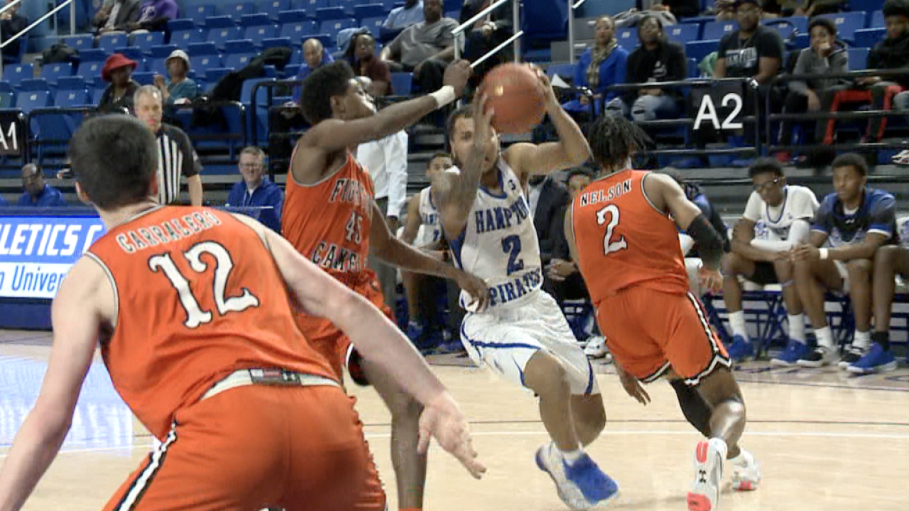 Hampton men's hoops rallies from 9-point second half deficit to beat Campbell, 83-74