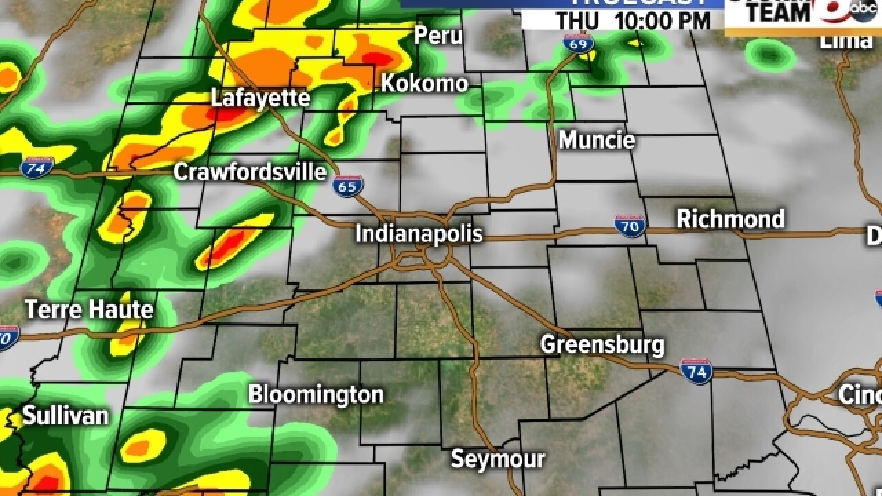 TIMELINE: Rain moves into central Indiana