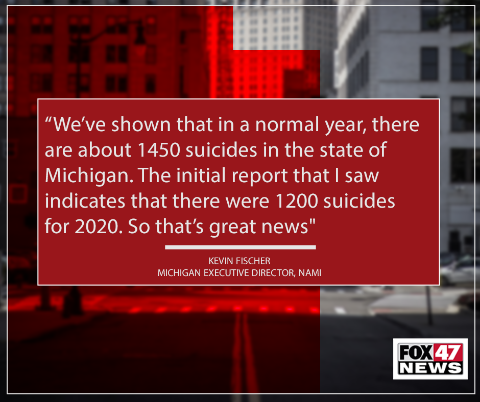 Quote from Kevin Fischer on the decrease in suicides in Michigan in 2020