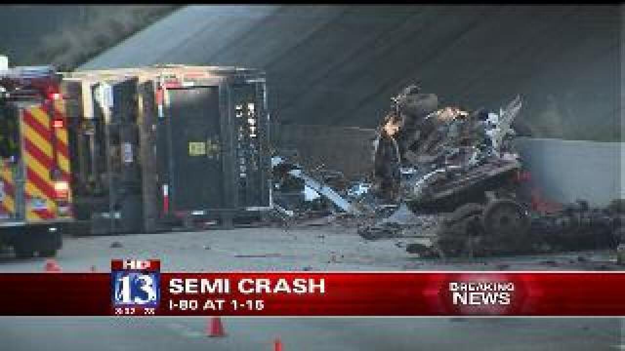 Semitrailer crashes on I-80, spills 80 gallons of fuel