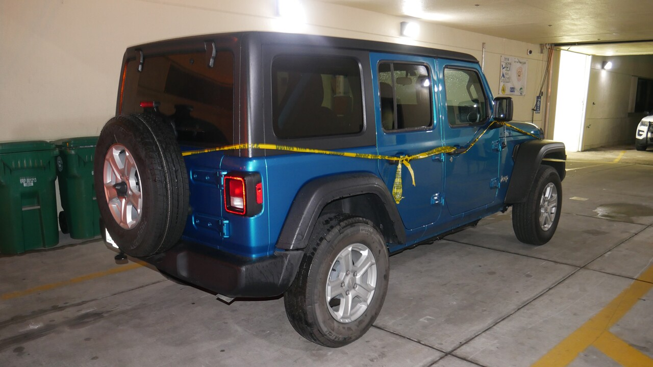 Stolen Jeep Wrangler that James Simpson drove to jail