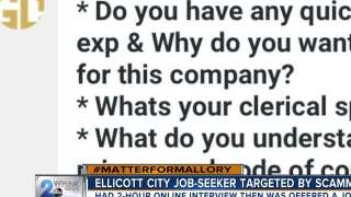 Ellicott City woman targeted by job scam