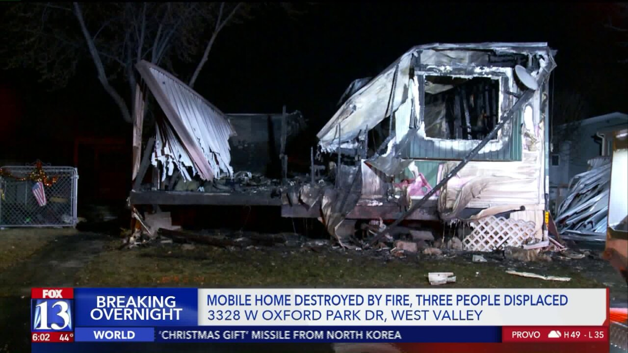 Fire destroys mobile home in West ValleyCity