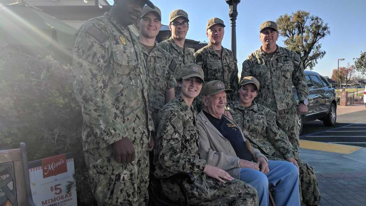 Sailors visit WWII veteran