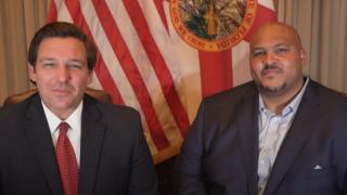 Gov. Ron DeSantis and Corey Simon, Volunteer Florida CEO announcement