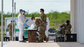 Texas National Guard at COVID-19 testing site